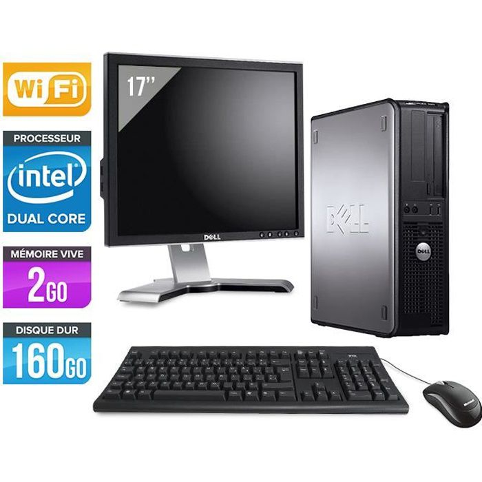 Pc dell 760 core duo 2 50 ghz wifi ecran 17 39 39 prix for Ecran pc dell