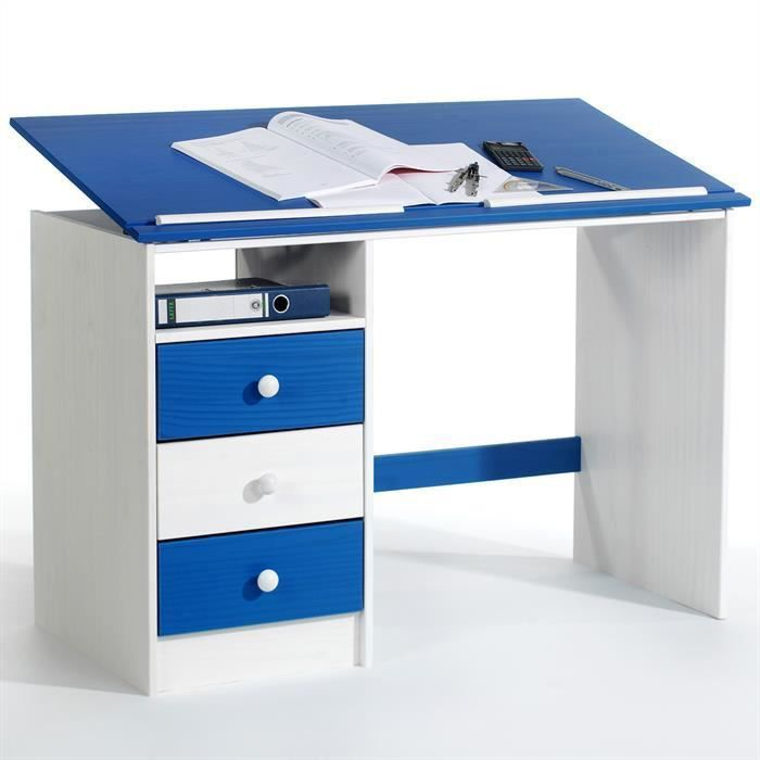 bureau enfant 3 tiroirs lasur blanc bleu achat vente bureau b b enfant soldes cdiscount. Black Bedroom Furniture Sets. Home Design Ideas