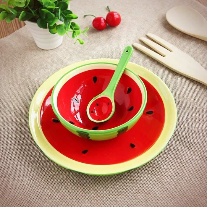 3 pi ce bol assiette et cuill re assiette de fruits salade riz vaisselle porcelaine pour enfants. Black Bedroom Furniture Sets. Home Design Ideas