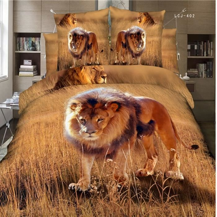 parure de lit lion dans la savane 3d effet 200 230 cm 4 piece achat vente housse de couette. Black Bedroom Furniture Sets. Home Design Ideas