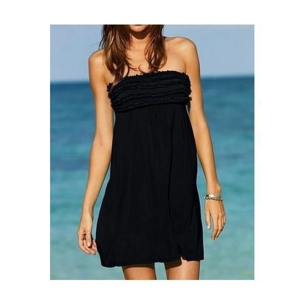 robe de plage bustier noire noir achat vente robe de plage cdiscount. Black Bedroom Furniture Sets. Home Design Ideas
