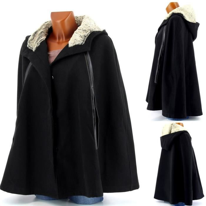 cape poncho manteau fourrure cuir honorine noir achat vente imperm able trench. Black Bedroom Furniture Sets. Home Design Ideas