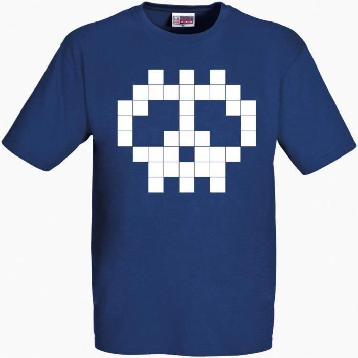 T Shirt Bleu Tête De Mort Pixel
