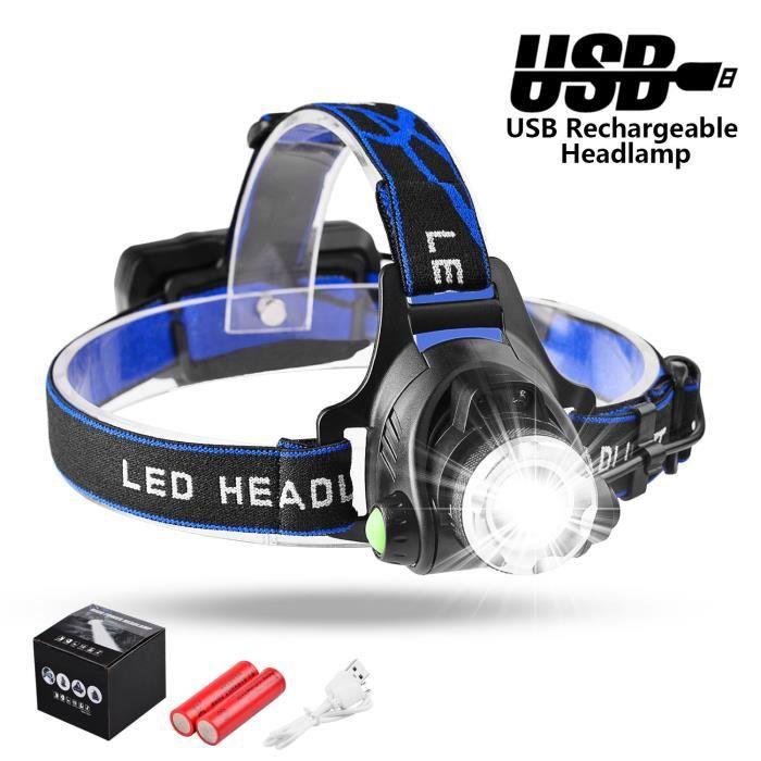 Rechargeable Lampe frontale étanche 5000 LM DEL Phare Lampe de Poche Torche