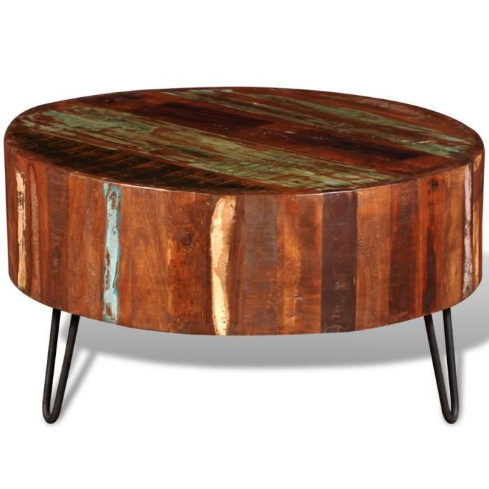 table basse ronde en bois recycl solide achat vente table basse table basse ronde en bois r. Black Bedroom Furniture Sets. Home Design Ideas
