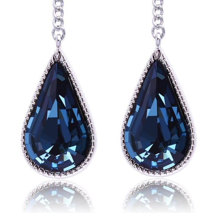 Womens Tear Water Drop Crystal Leaf Earring - Teardrop Hook Dangle Earring ForPI7MZ