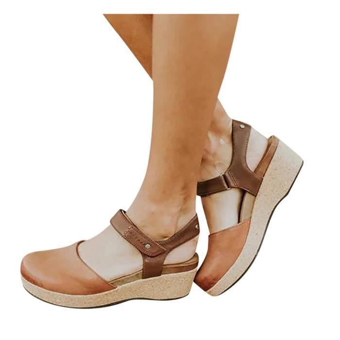Mode Rétro Femmes Flats fond épais Wedges bout rond Spartiates antidérapants marron