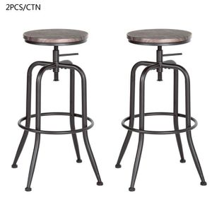 TABOURET DE BAR Lot de 2 Tabouret de Bar Siege Fini en Noyer Tourn
