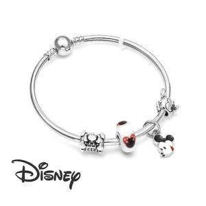 BRACELET - GOURMETTE Bracelet Style Pandora Charm Disney Mickey Argent