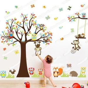 STICKERS Sticker Mural Animal : hibou, singe, arbre, déco d