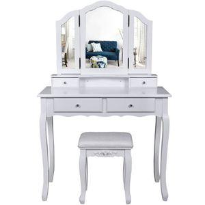 COIFFEUSE Coiffeuse bois avec 3 miroirs 4 tiroirs et taboure
