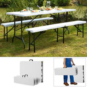 TABLE ET CHAISES CAMPING Ensemble Table bancs camping pliable - table buffe