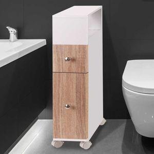 COLONNE - ARMOIRE WC Meuble rangement WC sur roulettes 2 tiroirs hêtre