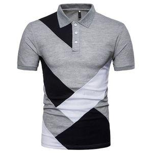 T-SHIRT Polo Homme Contraste Couleur Golf Tennis Sport T-S
