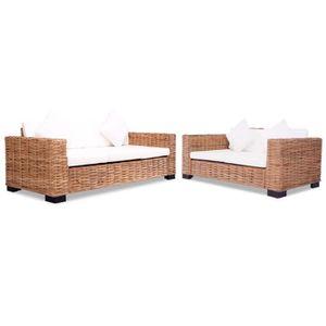 ENSEMBLE CANAPES Ensemble de canapés 15 pcs Rotin naturel meuble de