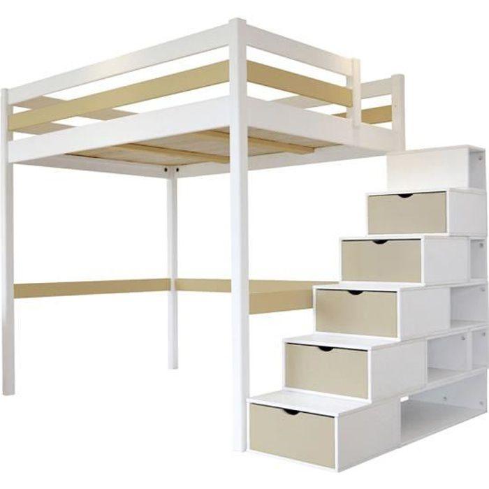 Lit Mezzanine Sylvia avec escalier cube bois - Couleur - Blanc/Moka, Dimensions - 120x200