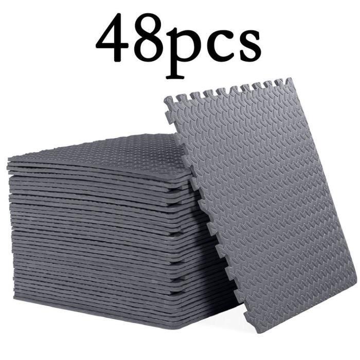 lot de 48 pcs Tapis de Protection de Sol 60 x 60 x 1cm Dalles en Mousse + Bordures Matelas Puzzle Tapis de Fitness,Gris