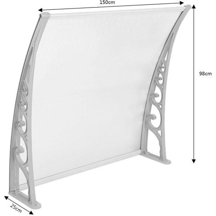 Auvent de porte marquise d'accueil 100*150 cm polycarbonate