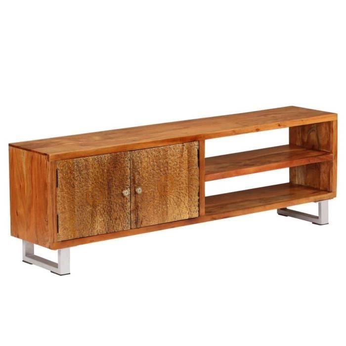Meuble télé buffet tv télévision design pratique bois massif avec portes sculptées 140 cm 2502166