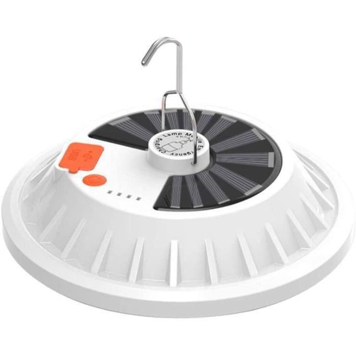 Lanterne Solaire Allume 5 Modes, Lampe LED Ultra Lumineuse Rechargeable USB avec Sortie De Batterie Externe, Éclairage