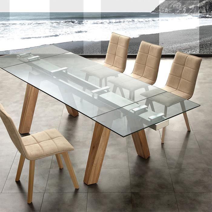Table extensible en bois clair et en verre design CARLA 3