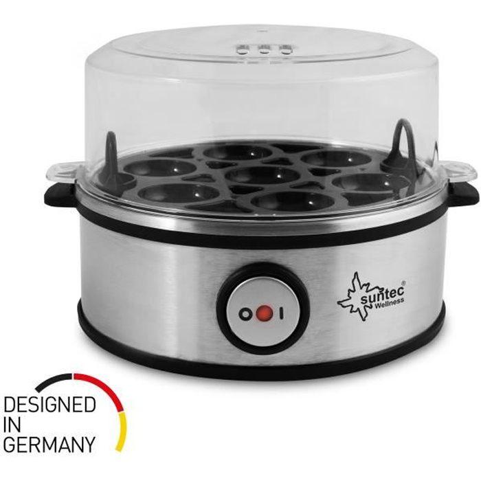 SUNTEC Cuiseur à œufs inox EGG-8564 design [Pour 1 à 7 œuf(s), degré de cuisson réglable, signal sonore, avec bol pour œufs