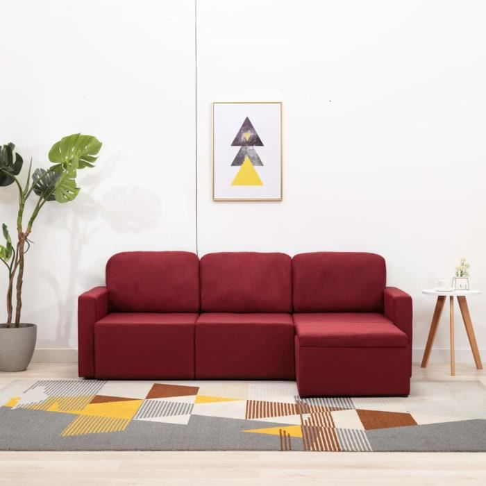 HAPPY ®5966Chic Canapé-lit Grand Confort & Mode modulaire 3 places - Canapé d'angle convertible réversible clic clac Sofa Rouge bord