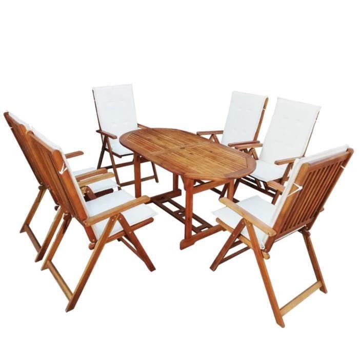 13 pcs Mobilier d'extérieur avec coussin Bois d'acacia massif - 1xtable ovale 150x80x74cm + 6xchaise + 6xcoussin de chaise