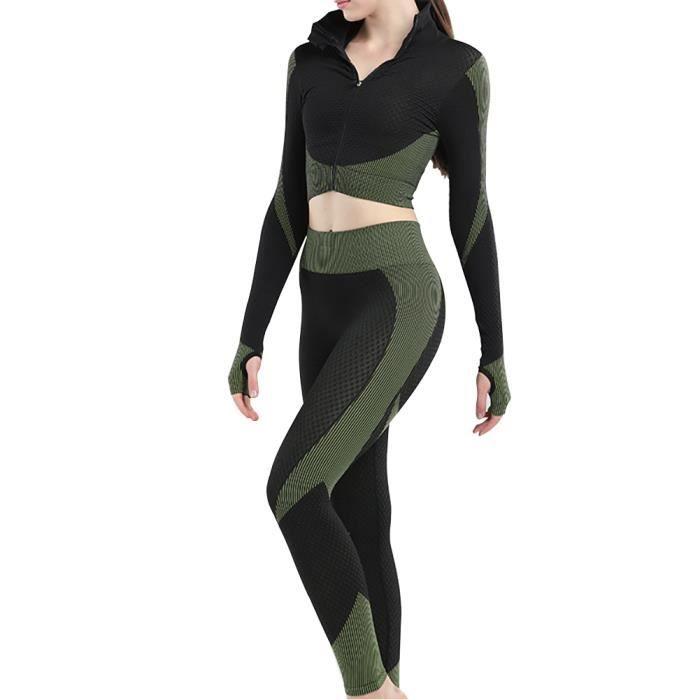 3pcs transparente Femmes Yoga Costume manches longues Manteau Gilet Leggings Fitness Gym Survêtement de sport Vêtements Set (Vert, S