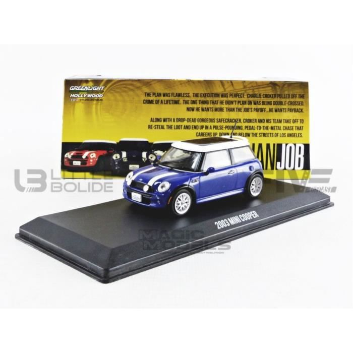 Voiture Miniature de Collection - GREENLIGHT COLLECTIBLES 1/43 - MINI (NEW) Mini Cooper S - The Italian Job 2003 - Blue / White -