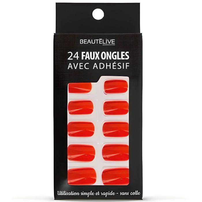 Kit faux ongles adhésifs rouge