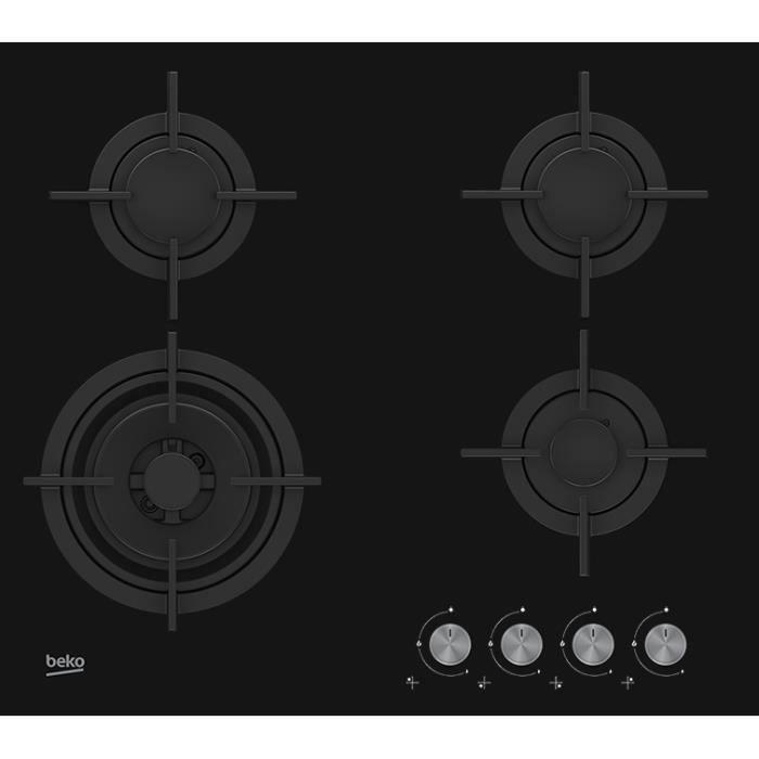 Beko HILW64222S, Intégré, Cuisinière à gaz, Verre, Noir, Fonte, 1000 W