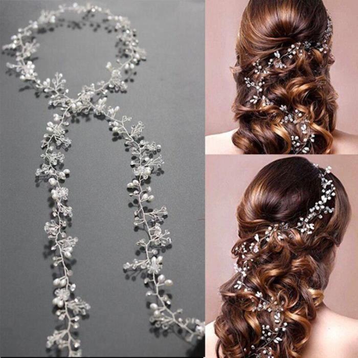 chaîne en métal pearl bijoux pour mariage femme mariée tête cheveux décoration