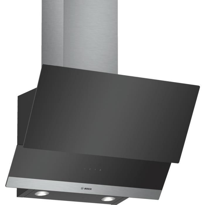 Bosch DWK065G60 hotte 530 m³-h Monté au mur Noir, Acier inoxydable C - Hottes (530 m³-h, Conduit-Recirculation, C, A, D, 70 dB)
