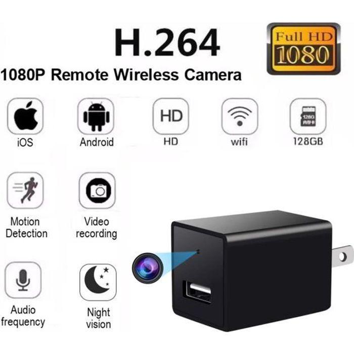 Caméra cachée chargeur de téléphone portable 1080p HD caméra espion, WIFI sans fil prise murale prise en charge USB 4K