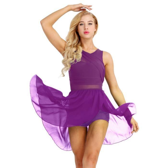 Robe Danse Classique Adulte Femme Justaucorps Gymnastique Sans Manches XS-XL Violette