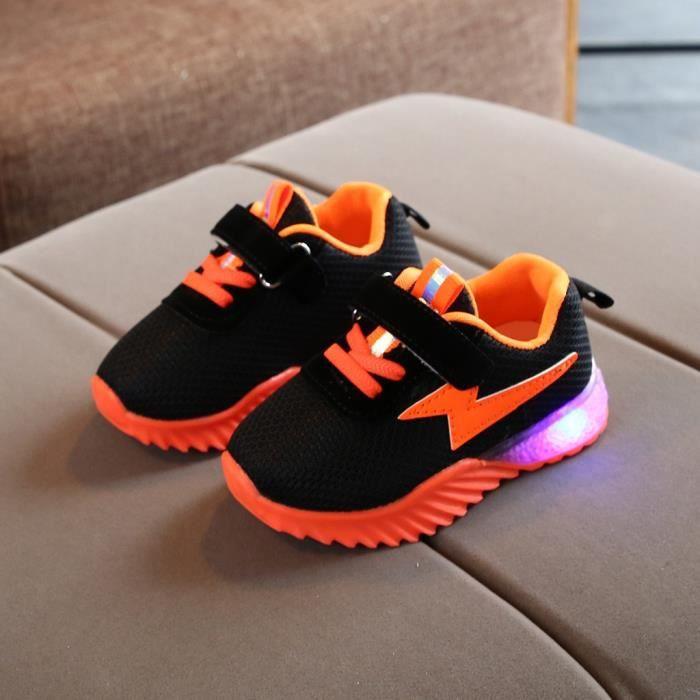 Enfants bébé filles garçons respirant maille Led lumineux Sport course baskets chaussures Orange