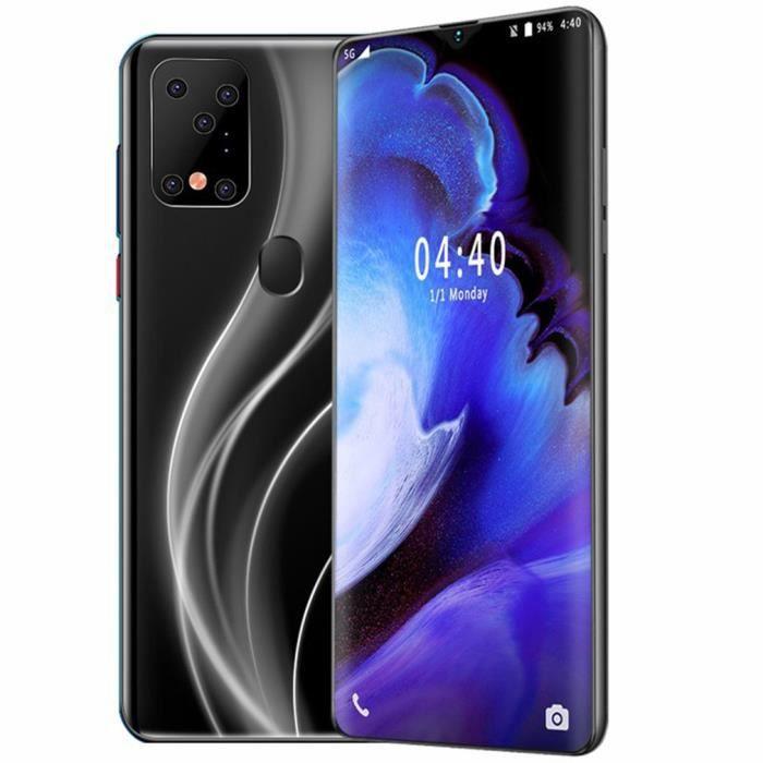 """6,7"""",smartphone, grand écran goutte d'eau, déverrouillage des empreintes digitales, carte double sim ,quadricœur puissante - NOIR"""