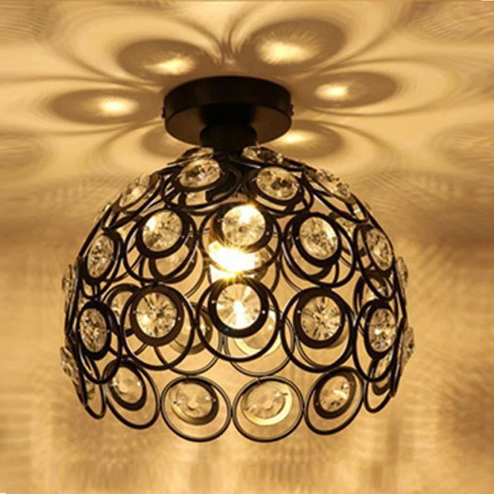 Plafonnier en Cristal Métal fer Lampe de Plafond Lustre Moderne Simple E27 pour salon chambre à coucher, couloir - Ø26cm