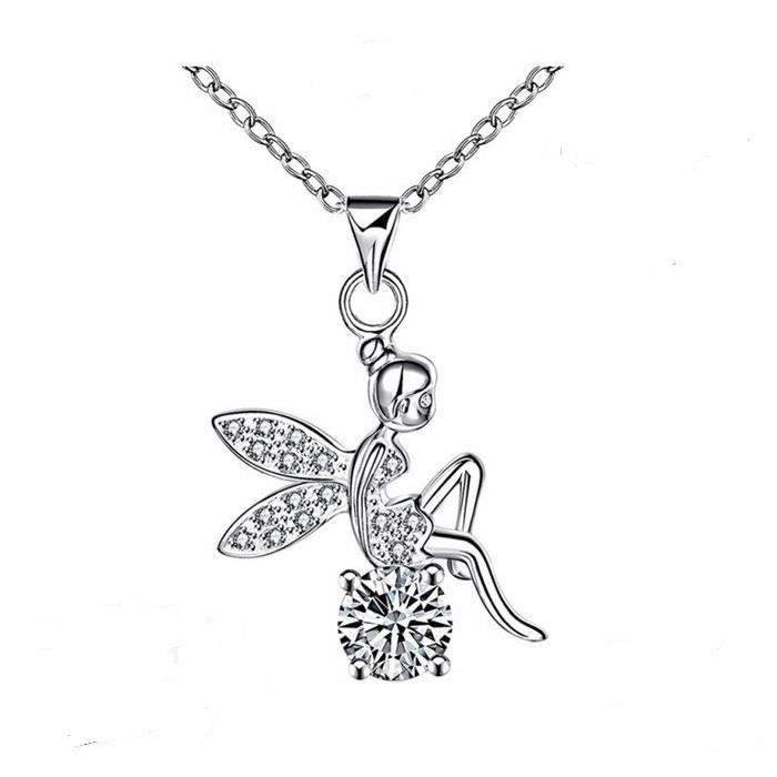 Collier Pendentif Fée Clochette Cristal Swarovski* Argent Massif 925