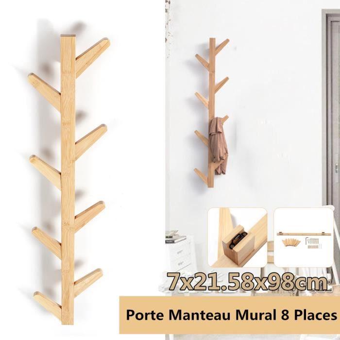 Porte Manteau Mural en Bois de Bambou - Forme d' Arbre - 8 Crochets - 98 x 21.5cm