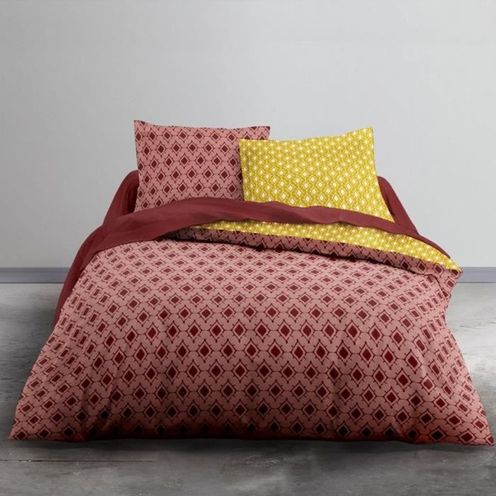 TODAY Parure de lit 2 personnes - 220 x 240 cm - Imprimé rouge Ethnique CRAZY Oran TODAY