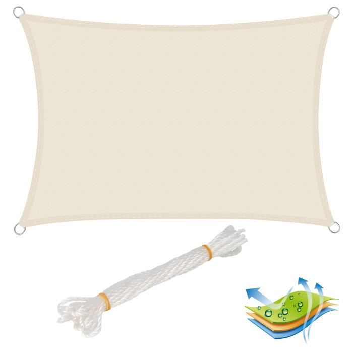WOLTU Voile d'ombrage rectangulaire en polyester, protection contre le soleil avec protection UV pour jardin ou camping,4x6 m, Crème