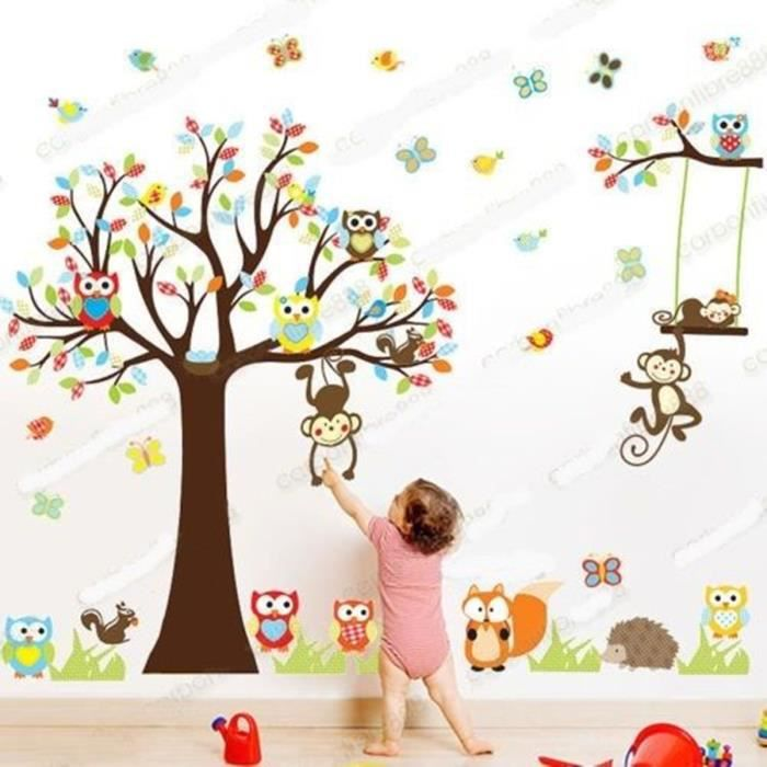 Sticker mural animal hibou singe arbre d co decal for Decoration chambre hibou