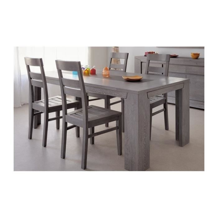 ensemble table rectangulaire et 4 chaises bruges ch ne gris achat vente table a manger. Black Bedroom Furniture Sets. Home Design Ideas