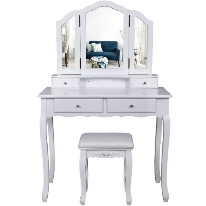 coiffeuse bois avec 3 miroirs 4 tiroirs et tabouret table maquillage blanc1412013 achat. Black Bedroom Furniture Sets. Home Design Ideas