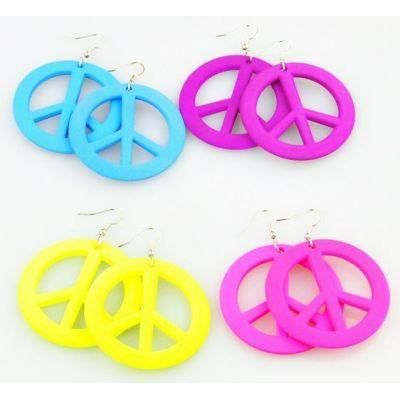 Boucles d 39 oreilles en acrylique logo peace and love - Boucle d oreille peace and love ...