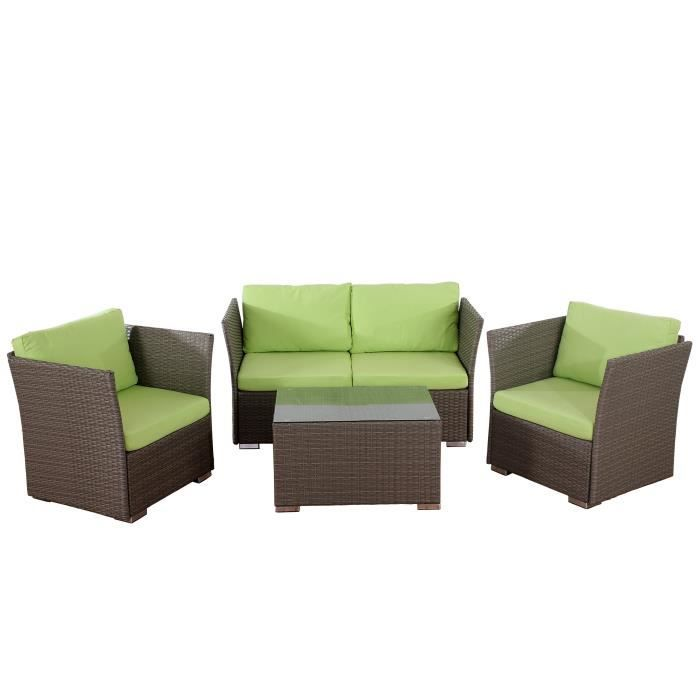 Salon de jardin siena canap 2 places 2 fauteuils table polyrotin gris - Salon jardin 2 places ...