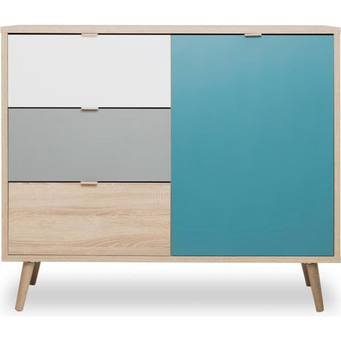 cuba meuble de rangement scandinave ch ne gris et bleu p trole l 103 cm achat vente petit. Black Bedroom Furniture Sets. Home Design Ideas