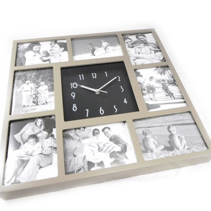 p le m le horloge design bois taupe achat vente cadre photo cdiscount. Black Bedroom Furniture Sets. Home Design Ideas
